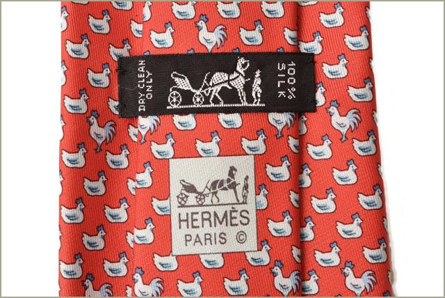 57bdbc079173 Hermes tie HERMES silk 100% chicken red / white エルメス エルメス エルメス エルメス エルメス  エルメス