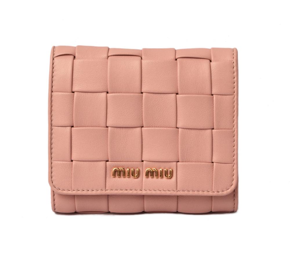 公式の  ミュウミュウ ミニ財布 miumiu 三つ折り 財布 5MH016 NAPPA/ナッパ ORCHIDEA/ベージュピンク アウトレット 未使用 ギフト プレゼント, webショップTAKIGAWA 00f248bd