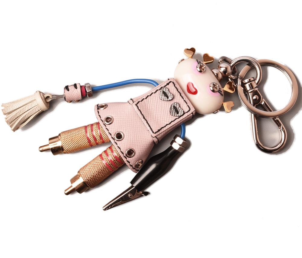プラダ キーリング/キーホルダー PRADA キートリック nancy/ロボット/TRICK ROBOT ピンクマルチ 1TB016 未使用【中古】