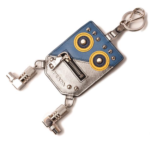 プラダ キーリング/キーホルダー PRADA キートリック ロボット/TRICK ROBOT シルバー/アズーロ 2PP074 未使用【中古】