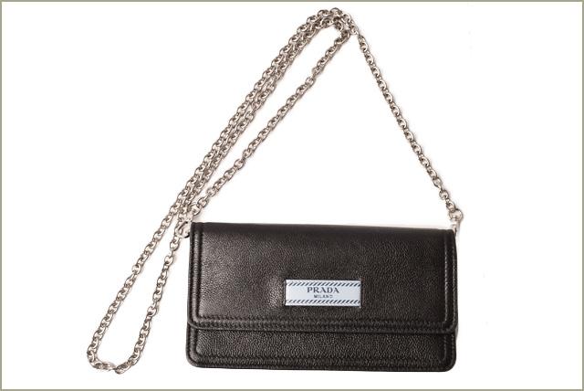100% authentic 6784a a8a56 Prada iPhone case / smartphone case PRADA chain wallet calf NERO/ASTRALE  black / astral 1ZH051 mint condition