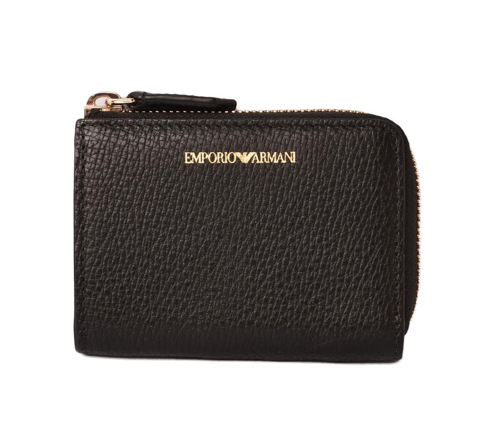 エンポリオアルマーニ ミニ財布 EMPORIO ARMANI 折財布 型押しレザー ブラック Y3H088/YDD1A/80001