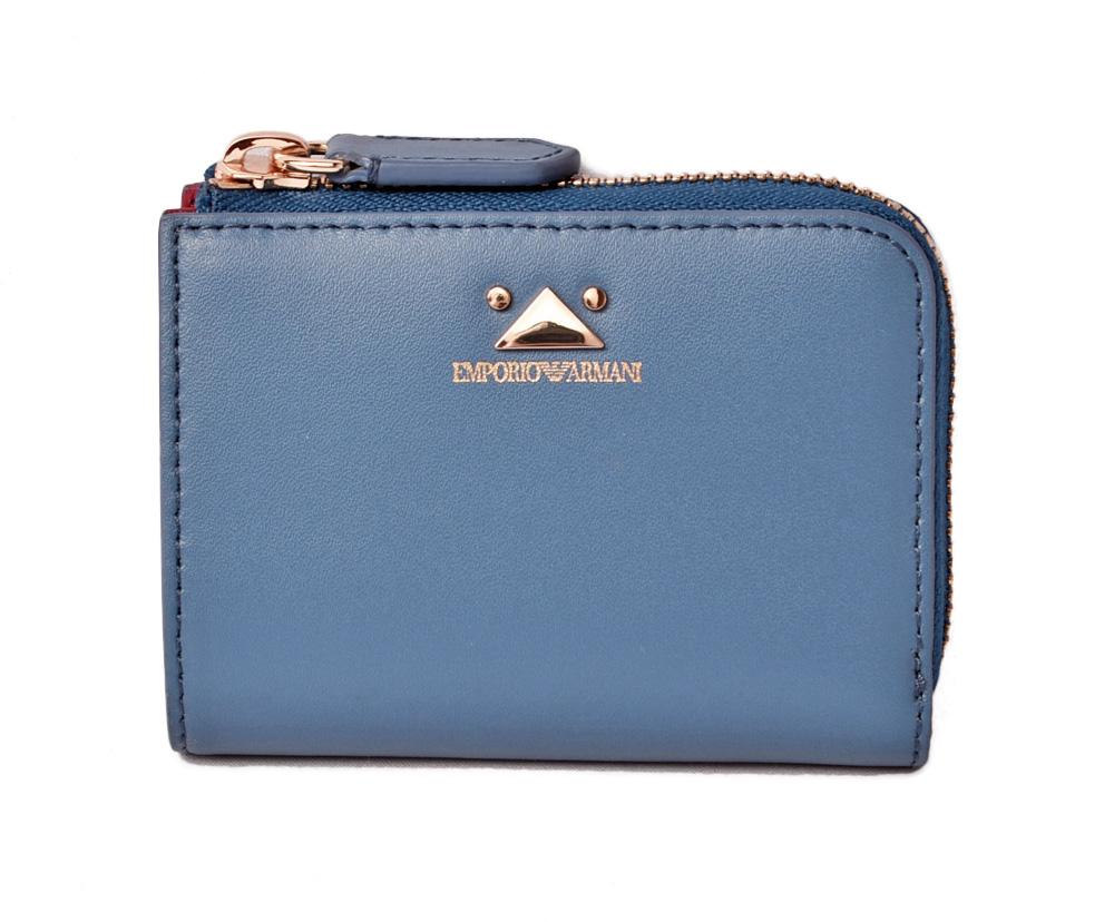エンポリオアルマーニ ミニ財布 EMPORIO ARMANI 折財布 レザー ブルー Y3H088/YDX7A/80255