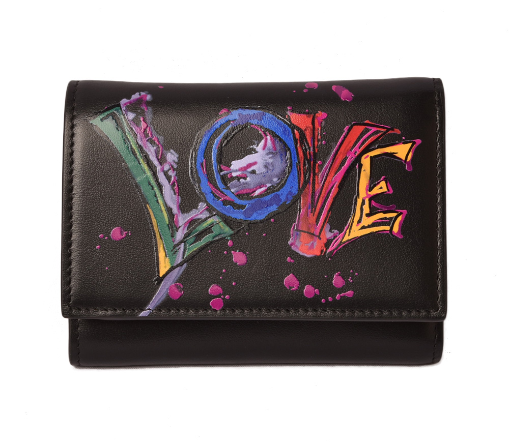 クリスチャンルブタン ミニ財布 Christian louboutin 折財布/BOUDOIR MINI WALLET PARIS LOVE BLACK/ブラック 3185195