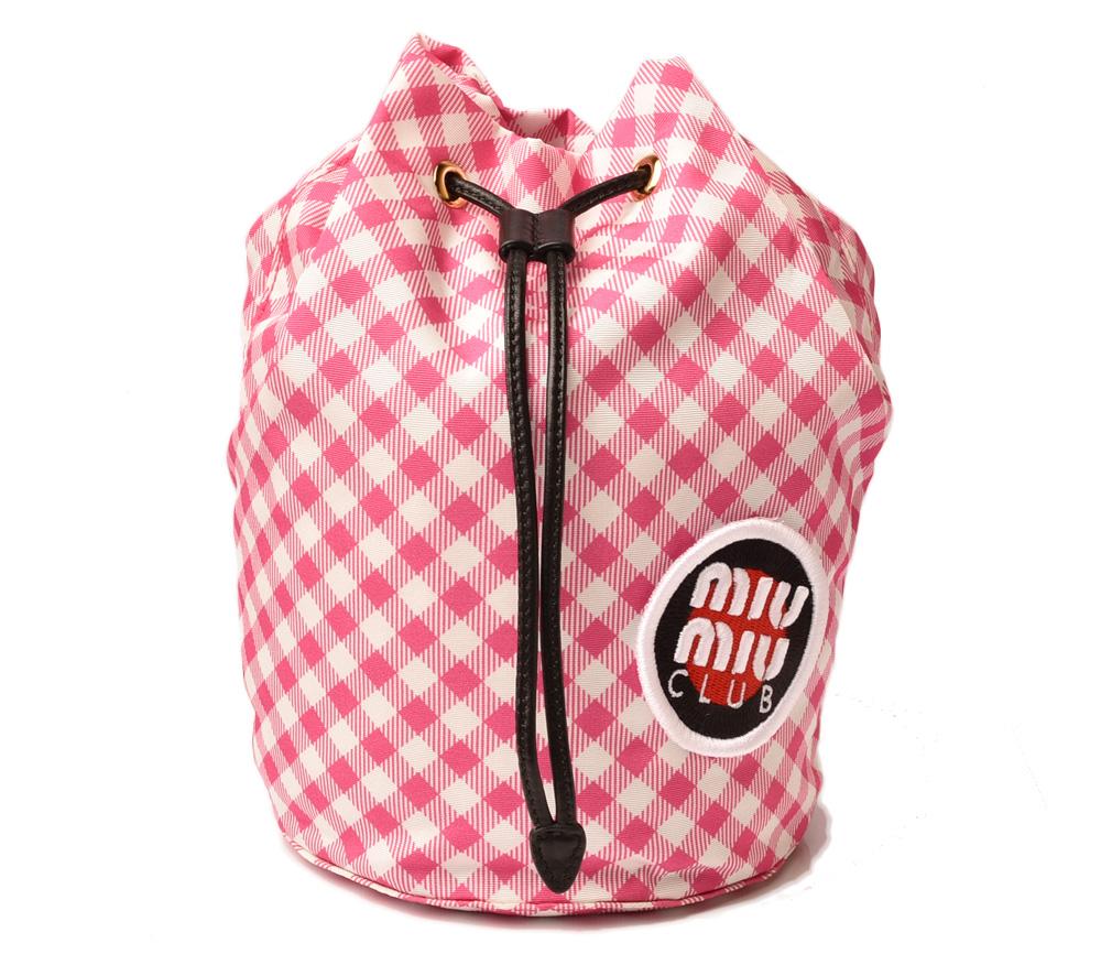 ミュウミュウ ポーチ/巾着式 miumiu FAILLE VICHY ナイロン 5ND014 PINK ピンク/ホワイト 未使用【中古】