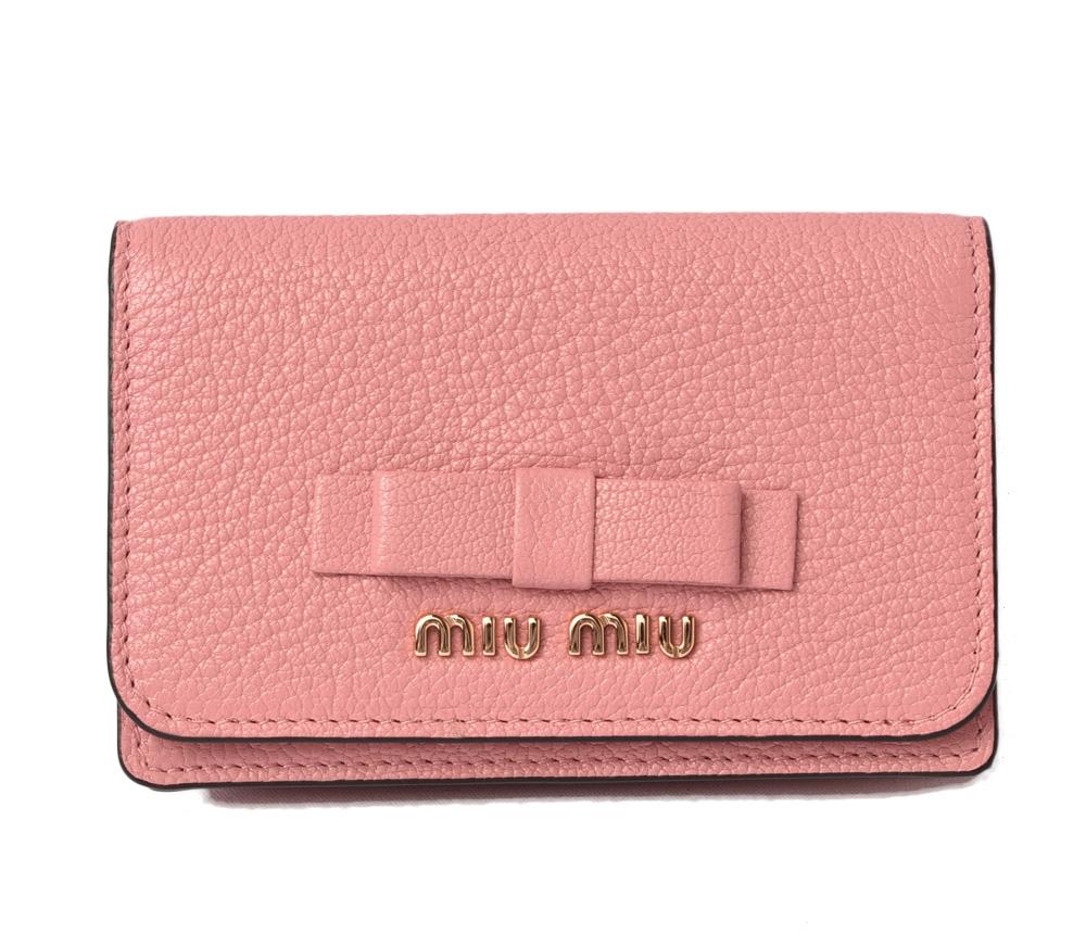 ミュウミュウ カードケース/コインケース miumiu 5MC011 MADRAS FIOCCO/マドラス ROSA N/ローズ 未使用【中古】