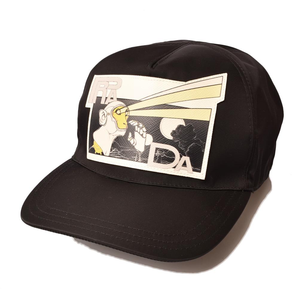 プラダ キャップ/帽子 PRADA メンズ ベースボールキャップ 2HC587 TESSUTO MONKEY/ナイロン NERO/ブラック 未使用【中古】