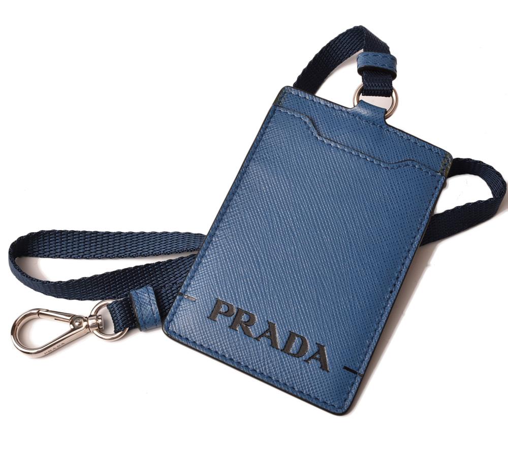 プラダ パスケース/IDホルダー/カードケース PRADA ネックストラップ付 2MC016 バッジホルダー アズーロ 未使用【中古】