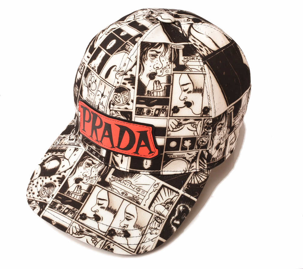 プラダ キャップ/帽子 PRADA メンズ ベースボールキャップ 1HC274 コットン ACCIAIO/ブラック/ホワイト 未使用【中古】