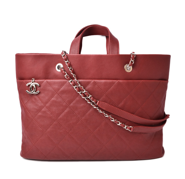 meticulous dyeing processes high fashion coupon codes Chanel shoulder bag / chain tote bag CHANEL bag caviar skin rouge red /  silver metal fittings