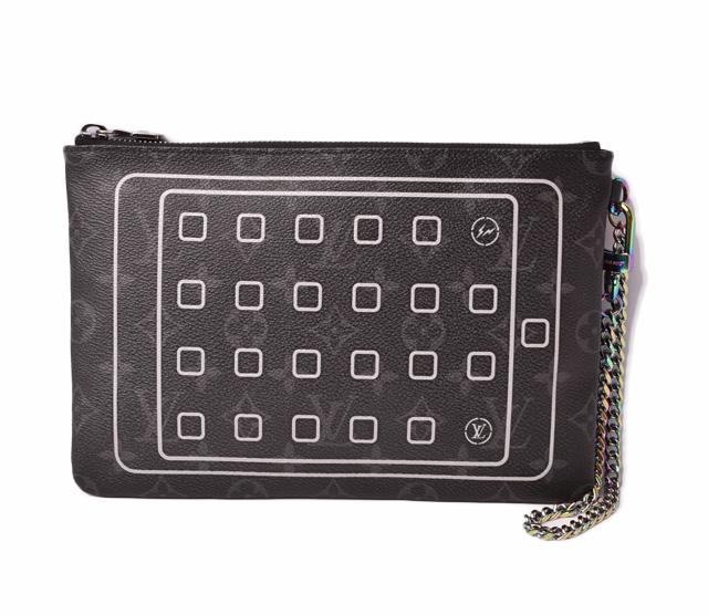 ルイヴィトン iPadケース/クラッチバッグ 限定 LOUIS VUITTON フラグメント モノグラムエクリプス 藤原ヒロシ コラボ M64449【中古】
