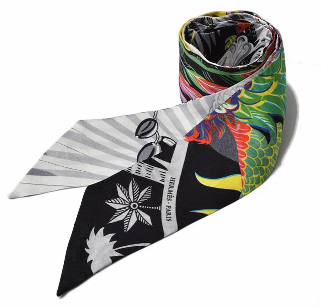 エルメス ツイリー スカーフ HERMES シルクツイル フラワーモチーフ ホワイト/マルチ【中古】新生活