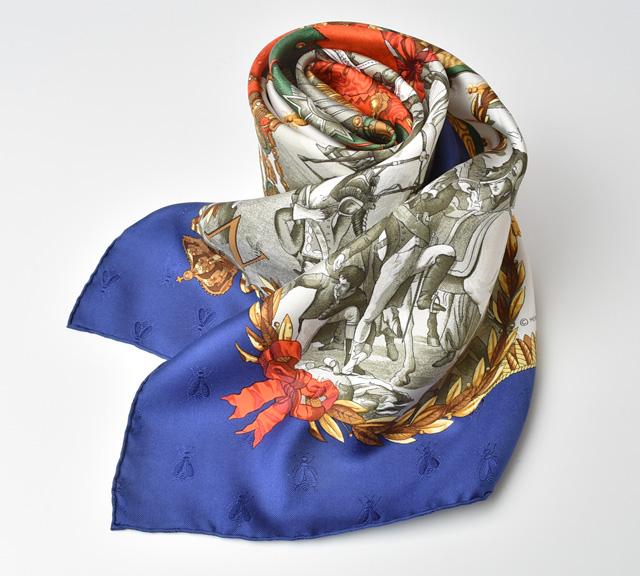 HERMES スカーフ カレ90 シルクツイル ナポレオン/ビー マリン/ホワイト【中古】