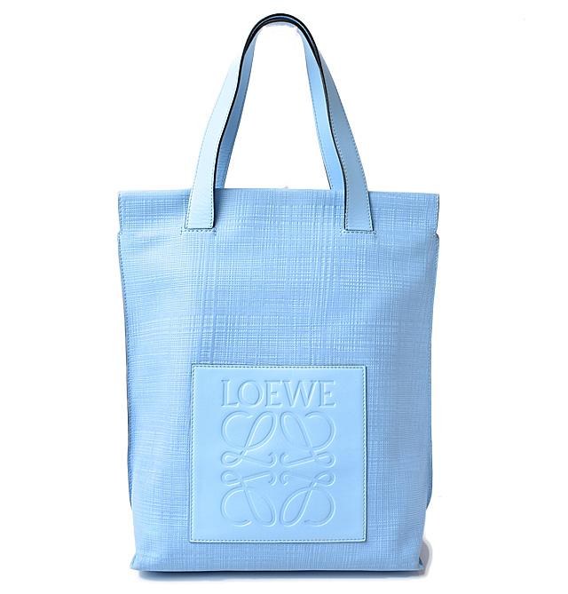 送料無料 ロエベ バッグ お買い得 LOEWE トートバッグ ショッパー 中古 リネンアナグラム 330.88.K01 レザー Linen ライトブルー セール価格