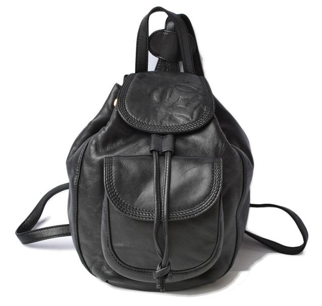 送料無料 ロエベ セール価格 バックパック リュックサック 中古 全品最安値に挑戦 ブラック LOEWE ワンショルダー ラムスキン バッグ