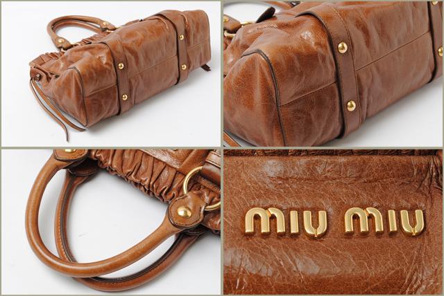 092f524131a4 Shoulder bag   handbag RT0383 2 Leather Brown Is a 2-way bag Miu Miu than  Aperture gathers your feminine impression. Distinctive wrinkle leather with  ...