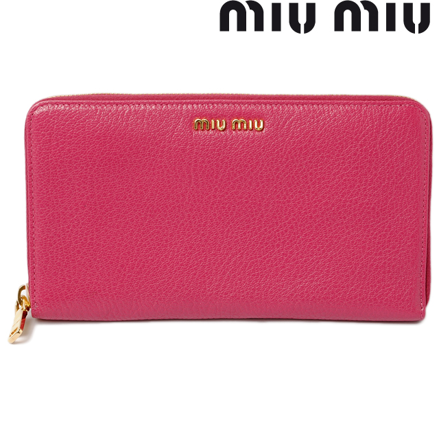 Miu Miu miumiu wallets wallet large zip around style 5M1188 MADRAS   Madras  goatskin PEONIA   pony unused fa971044e246