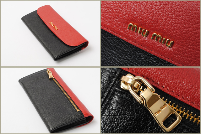 Miu Miu miumiu. Wallet 5M1109 BICOLORE MADRAS   Madras FUOCO+NERO   red +  black adb66321be1f