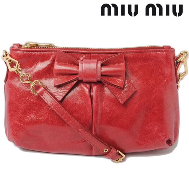 0edf22ace118 Miu Miu miu miu. Shoulder bag   clutch pouch 5N1853 Ribbon VITELLO LUX    vintage leather CILIEGIA   Rouge