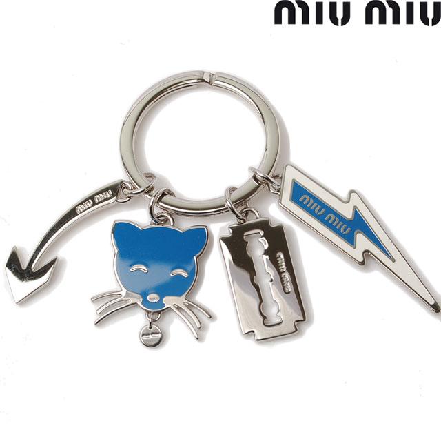 ミュウミュウ キーリング/キーホルダー miumiu キャットモチーフ 5AP703 MAREA/ブルー シルバー金具【中古】