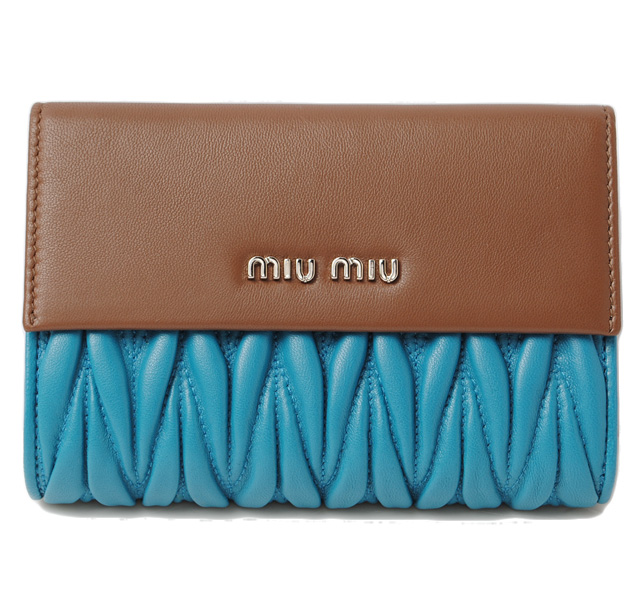 ミュウミュウ 財布 miumiu 3折財布 5M1225 MATELASSE/マテラッセ COCCO/ALAGUNA ココア/ラグーナ 未使用 【中古】