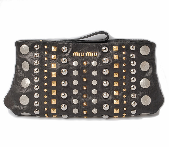 bd6dbb86ee95 Miu Miu minicratchbag   pouch. Miu miu NAPPA studded Black   Silver   Gold