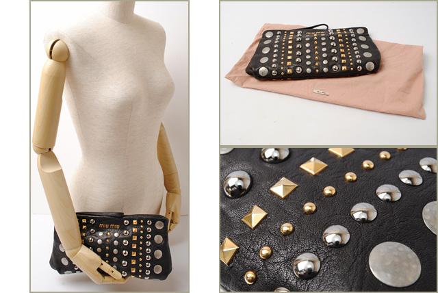 5454cdf965fc Miu Miu minicratchbag   bag miu miu NAPPA studded Black   Silver   Gold