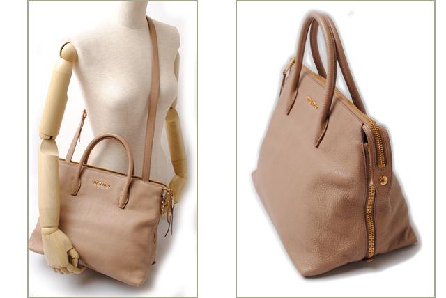 af79c50fc7eb Unused Miu Miu shoulder bag   Tote 2-way miu miu strap with MADRAS   Madras  leather beige