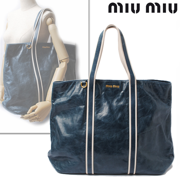 Import shop P.I.T.  miumiu miu miu shopping tote bag vintage calf AZZURRO   light blue RR1741  596e5d8d3eb38