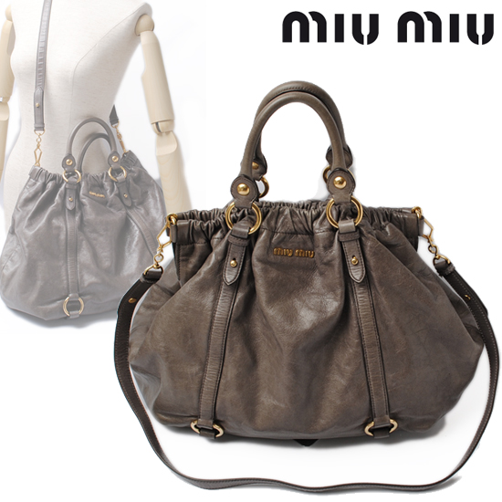 47ba8a83b81d Import shop P.I.T.  miumiu miu miu 2way shoulder bag vintage leather gray  RR1708