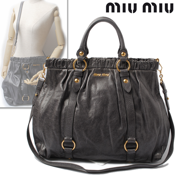 b6350772b32 Import shop P.I.T.  miumiu miu miu shoulder bag   handbag 2way VITELLO LUX  gray RN0423   Rakuten Global Market