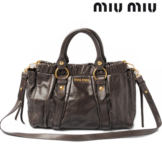 489979051c0 miumiu Miu Miu shoulder bag   handbag 2-way leather vintage gray RT0383