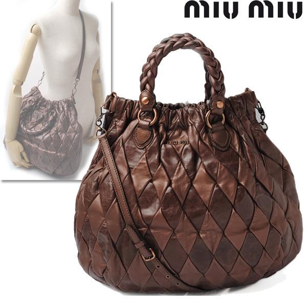 Miumiu ミュウミュウ 2way Ho Baud Bag Patchwork Leather Metallic Brown Rr1432 Used Smtb Tk