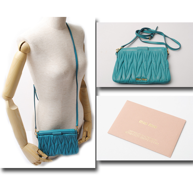 580d6f599e6 It is with miumiu miu miu shoulder bag   porch 5N1520 マテラッセ TURCHESE   turquoise strap