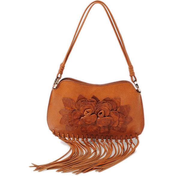 Valentino Shoulder Bag Mexican Fringe Ticket Skin Natural Leather