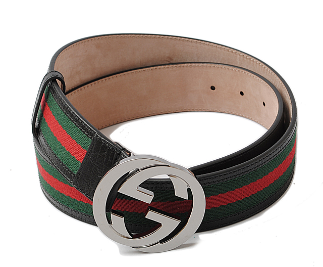 Gucci belt men GUCCI sherry line green / red black 114984 H17AR 8476 outlet  mint condition