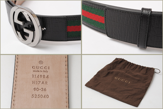 6e7fe2aa2 ... Gucci belt men GUCCI sherry line green / red black 114984 H17AR 8476  outlet mint condition ...