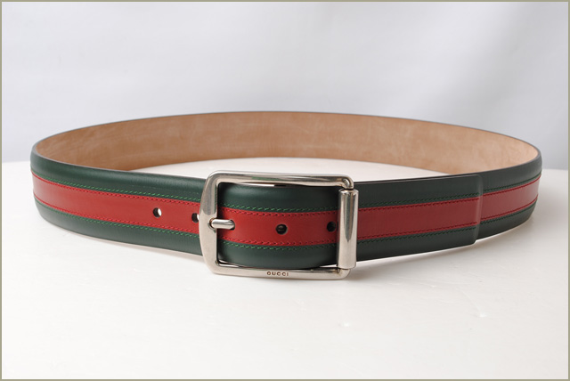 d1798d8596d Gucci belt men GUCCI sherry line green   red leather 295331 BTT5N 8460 mint  condition