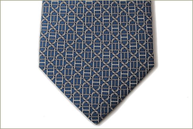 ebc27624e261 ... Unused Hermes tie HERMES 605904T BLUE MOYEN blue and grey silk 100% ...