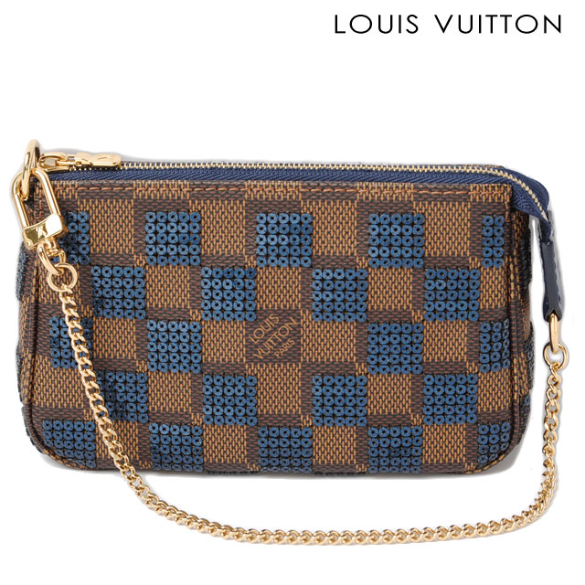 575829b4fc Louis Vuitton LOUIS VUITTON accessories pouch mini Pochette Accessoires or  N63175 Damier sequins and blue