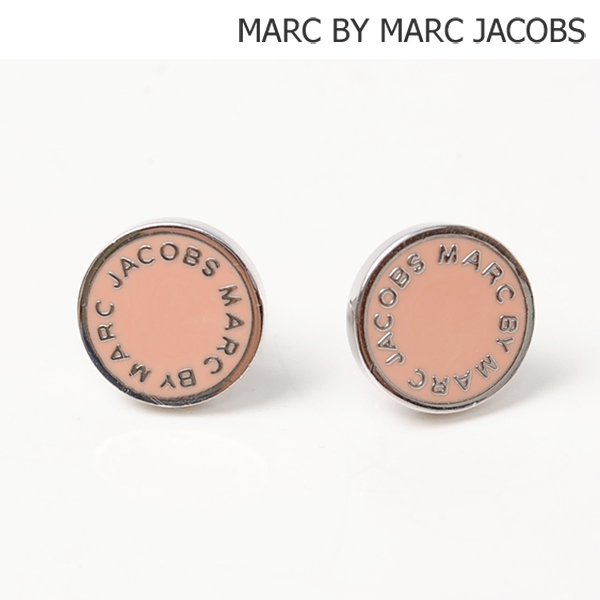 Mark By Marc Jacobs Pierced Earrings Accessories Logo Disk Studs Rouge Pink M0001169b