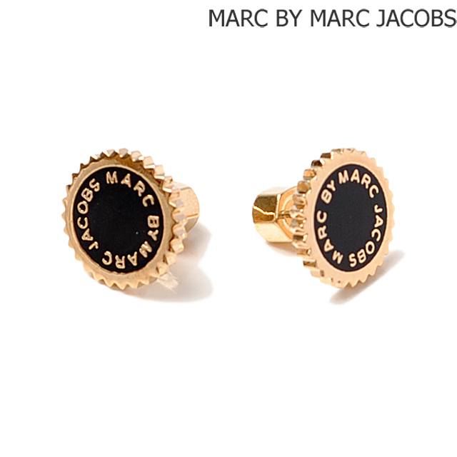 Marc By Jacobs Earrings Saw Tooth Enamel Disk Studded Black And Gold M0004172 Accessories