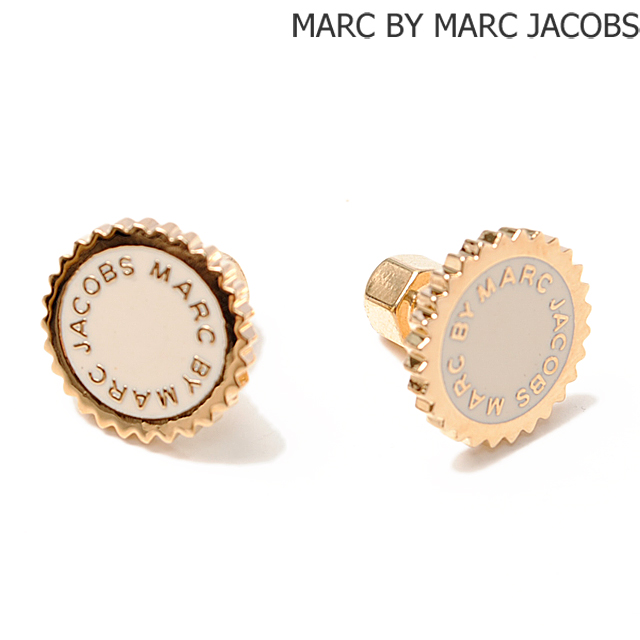 Marc By Jacobs Earrings Saw Tooth Enamel Disk Studded Cream Gold M0004172 Accessories