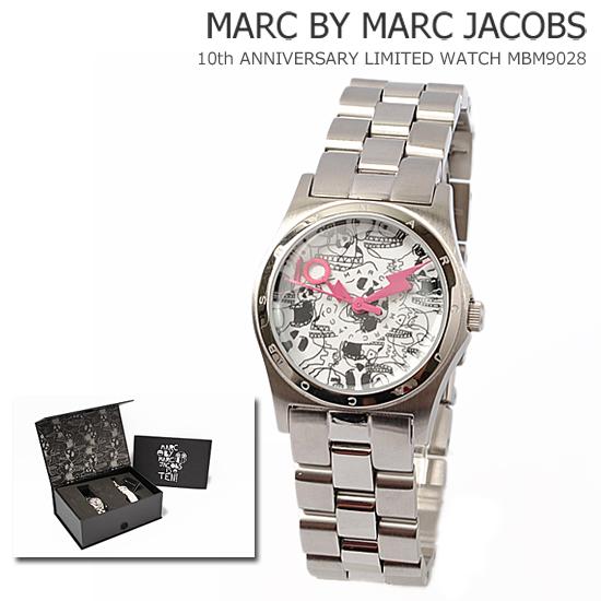 MARC BY MARC JACOBS(마크바이마크제이코브스) 레이디스 손목시계 10주년 기념 한정 모델 스컬무늬 실버 MBM9028