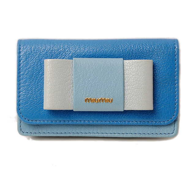 ミュウミュウ カードケース/コインケース miumiu 5MC122 MADRAS/マドラス MAREA/MARE ブルー/ライトブルー 未使用【中古】
