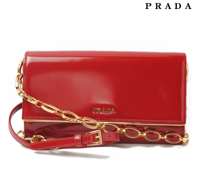 497de38508b4b6 Prada PRADA wallet and chain wallet / shoulder bag BT0920 SPAZZOLATO / patent  leather SCARLATTO ...