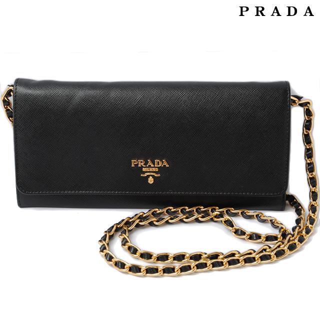 d3634b0ae37a38 ... authentic prada prada wallet chain wallet shoulder bag 1m1290 saffiano  metal saffiano nero black 84ee3 85f52