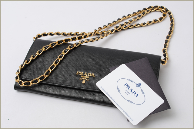 bdc4938d7ed285 ... authentic prada prada wallet chain wallet shoulder bag 1m1290 saffiano  metal saffiano nero black 76ee4 e9c60 ...