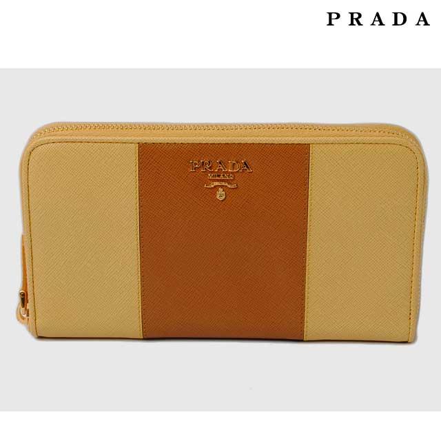 プラダ 長財布 PRADA 1M0506 SAFFIANO COLOUR/型押しレザー CARAMEL+GIN/カラメル【中古】