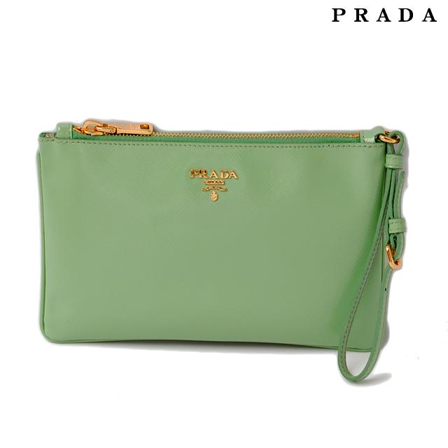 Prada Clutch Bag Pouch 1n1530 Saffiano Acquamarina Aqua Green Strap